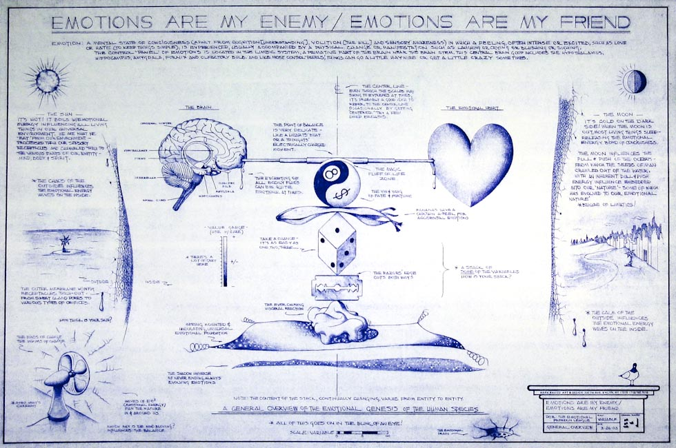 Drawings & Paintings - Blueprint Series - Emotions Are My Enemy Emotions Are My Friend IMG 0146