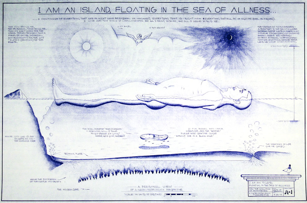 Drawings & Paintings - Blueprint Series - I Am An Island Floating In The Sea Of Allness IMG 0148