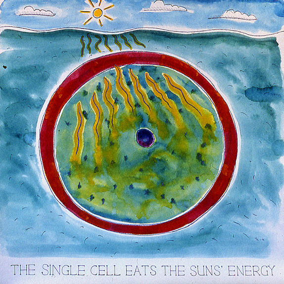 Drawings & Paintings - The Food Chain - 01 - The Single Cell Eats The Suns Energy