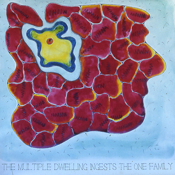 Drawings & Paintings - The Food Chain - 03 - The Multiple Dwelling Ingests The One Family